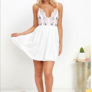 Lulu Daisy Petal Pickin' Ivory Embroidered Dress